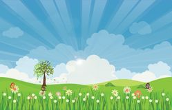 Spring summer meadow landscape with sun rays and flowers. Spring summer meadow landscape with sun rays and flowers, vector illustration royalty free illustration