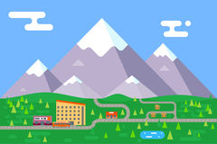 Spring summer mountain village hotel resort holidays bus shop flat design vector illustration Royalty Free Stock Photos