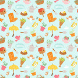 Spring and summer nature symbols and gardening tools seamless pattern background vector illustration vector illustration