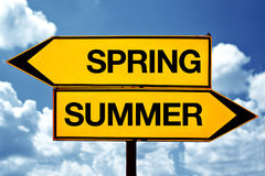 Spring or summer opposite signs Stock Photos