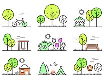 Spring and summer outlines concept icons set Royalty Free Stock Images