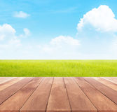 Spring or summer with rice field background and wood table Royalty Free Stock Image