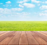 Spring or summer with rice field  background and wood table top Stock Photography