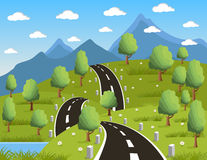 Spring or summer road to the mountain Royalty Free Stock Image