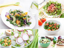 Spring and summer salads collage Stock Photo