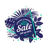 Spring Summer Sale banner template stock photos