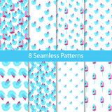 Spring and Summer Seamless Pattern Set Royalty Free Stock Image