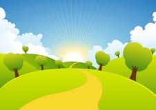 Spring Or Summer Seasons Rural Background royalty free illustration