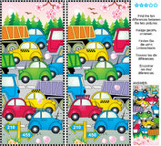 Spring or summer traffic jam find the differences picture puzzle. Spring or summer traffic jam picture puzzle: Find the ten differences between the two pictures Royalty Free Stock Image
