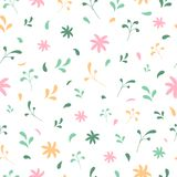 Spring or summer vector seamless pattern with floral elements vector illustration