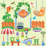 Spring and summer village and garden set with flowers stock illustration