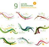 Spring | Summer wave floral nature background set Stock Image