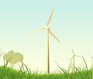 Spring Or Summer Windmills Landscape Royalty Free Stock Photography