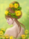 Spring summer woman in yellow flowers on hairstyle. Fantasy. beauty Stock Image
