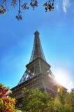 Spring sun Eiffel closeup Stock Photos