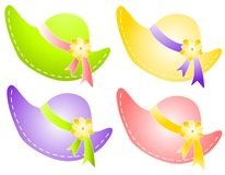 Spring Sunbonnet Hats With Flowers Ribbon Royalty Free Stock Photos