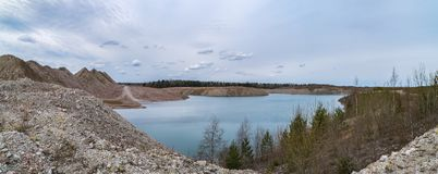 Submerged mine at spring Royalty Free Stock Photo