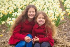 Spring sunny day, first flowers and happy children stock image
