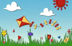 Spring Sunny meadow and kite. Spring sunny meadow. Green grass with flowers against sky and kite flying. Cartoonish illustration of warm summer day. Scratched Stock Image