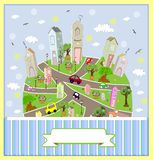 Spring sunny town. Vector illustration. Royalty Free Stock Image