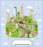Spring sunny town. Vector illustration. Stock Photo
