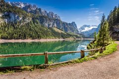 Spring sunrise at Gosausee lake in Gosau, Alps, Austria. Europe Royalty Free Stock Photos