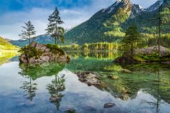 Spring sunrise at Hintersee lake in Alps, Germany Royalty Free Stock Images