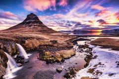 Spring sunrise over the famous Kirkjufellsfoss Waterfall with Ki Stock Image