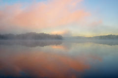 Dawn, Whitford Lake in Fog Stock Photo