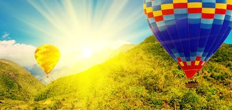 Spring sunset air hot ballon mountains. Spring sunset panoramic mountains air hot ballon at the alps, vintage nature background stock images