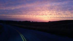 Spring Sunset. California Sunset, Valley Sunset, Mystic Sky Stock Photo