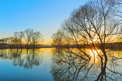 Spring sunset. Flood of the river Protva. Kaluga region. Russia Stock Photo