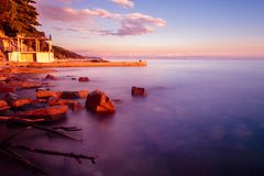 Sunset at the sea, Trieste Stock Images
