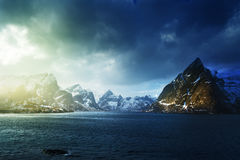 Spring sunset, Lofoten islands Stock Images