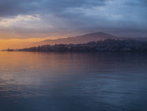 The spring sunset in Montreux Royalty Free Stock Photo