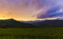 Spring sunset in the mountains. Nature Royalty Free Stock Images