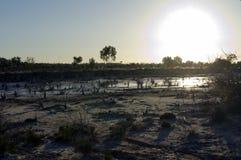 Spring sunset over Lake Magic, Hyden, WA, Australia royalty free stock photography