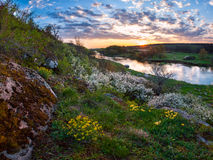Spring sunset over river Royalty Free Stock Photos