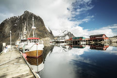 Spring sunset - Reine, Lofoten islands, Norway Royalty Free Stock Photos