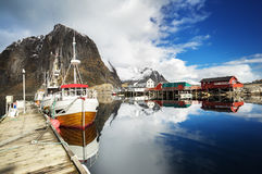 Spring sunset - Reine, Lofoten islands, Norway Stock Photography
