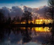 Spring sunset on the river Luga, Novgorod oblast ,Russia Royalty Free Stock Photos