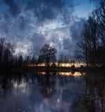 Spring sunset on the river Luga, Novgorod oblast ,Russia Royalty Free Stock Image