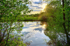 Spring sunset on the river Royalty Free Stock Image