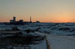 Spring Sunset in Vorkuta. North of Russian Federation Stock Photo