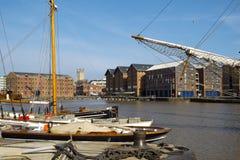 Spring sunshine, Gloucester Docks, UK. Spring sunshine on the industrial heritage travel destination of Gloucester Docks, Gloucester, UK stock images