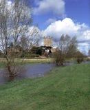 Scenic Severn Vale, Tewkesbury Abbey. Spring sunshine on Tewkesbury Abbey, Severn Vale, Gloucestershire, UK Royalty Free Stock Image