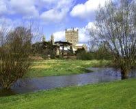 Scenic Severn Vale, Tewkesbury Abbey. Spring sunshine on Tewkesbury Abbey, Severn Vale, Gloucestershire, UK Stock Photos