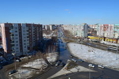 View of main street in Surgut, West Siberia, Russia, Spring 2013 Stock Photos