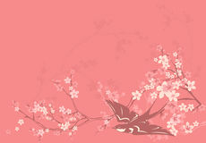 Spring swallow. Pink blossom spring background with swallow and cherry flowers - vector design elements Stock Images