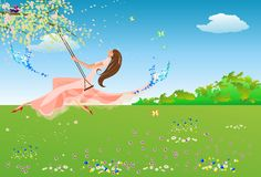 Spring on the swing, Stock Photo